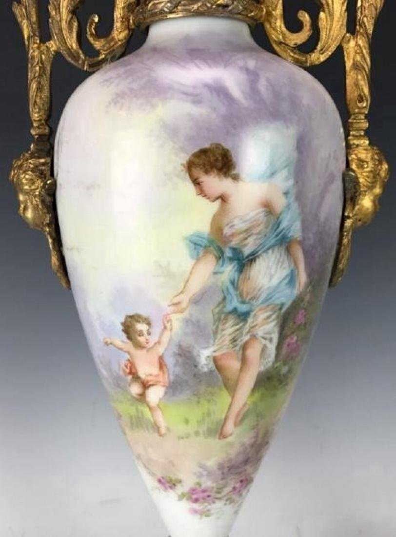 A LARGE PAIR OF FRENCH CHAMPLEVE ENAMEL & SEVRES VASES - 4