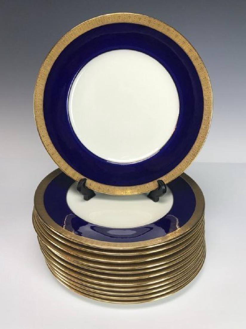 SET OF 14 VICTORIAN CAULDON PORCELAIN DINNER PLATES