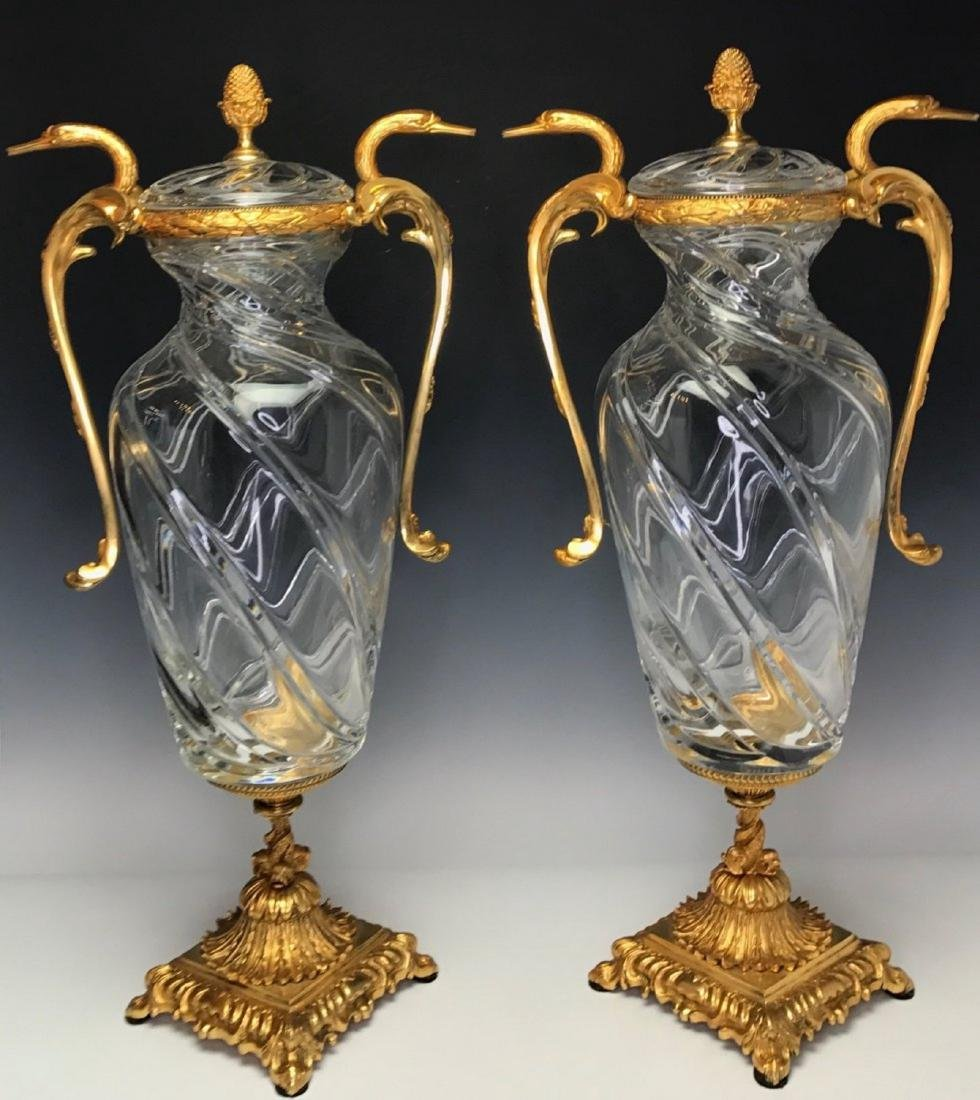 A LARGE PAIR OF BACCARAT STYLE ORMOLU MOUNTED VASES
