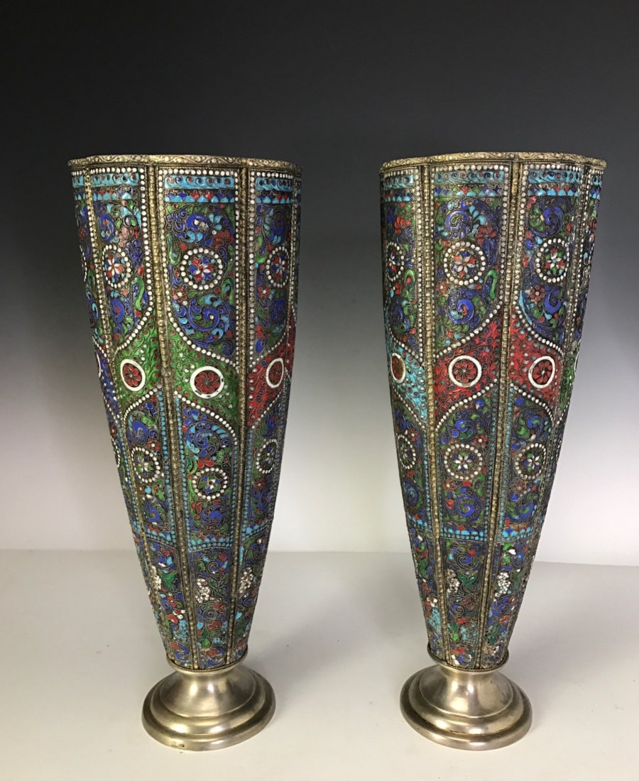 LARGE PAIR OF RUSSIAN / PERSIAN SILVER AND ENAMEL VASES - 2