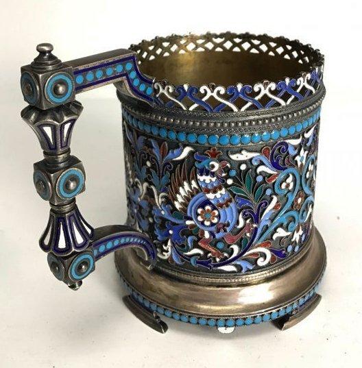 GILT SILVER RUSSIAN ENAMELTEA CUP HOLDER 1893