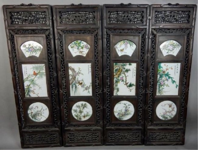 SET OF 4 CHINESE PORCELAIN PLAQUES WITH CARVED WOOD