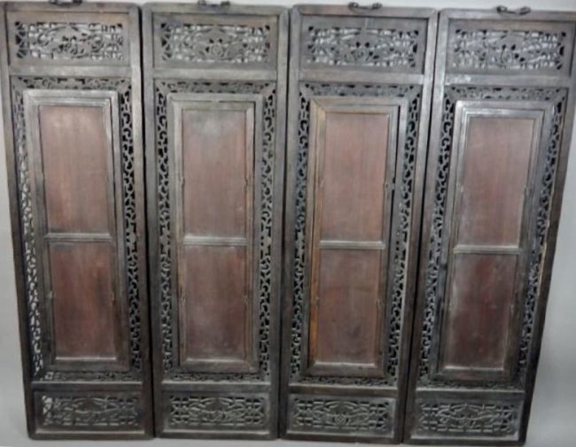 SET OF 4 CHINESE PORCELAIN PLAQUES WITH CARVED WOOD - 2