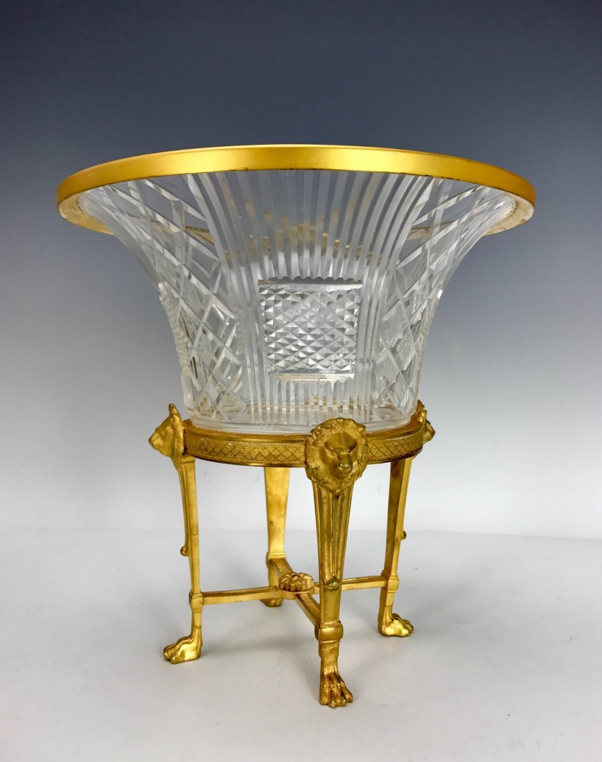 19TH C. DORE BRONZE AND BACCARAT GLASS FOOTED BOWL