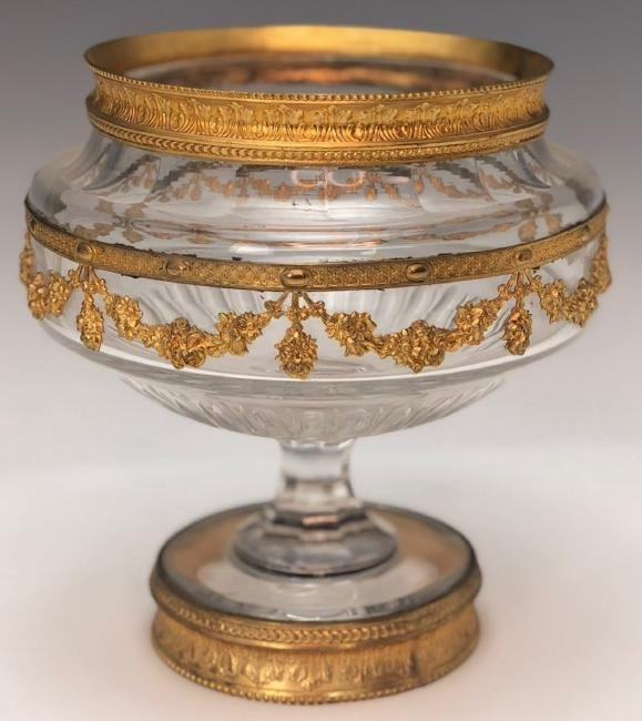 19TH CENTURY DORE BRONZE AND BACCARAT GLASS BOWL