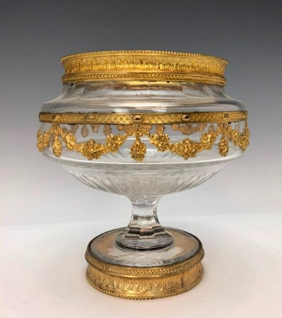 19TH CENTURY DORE BRONZE AND BACCARAT GLASS BOWL - 2