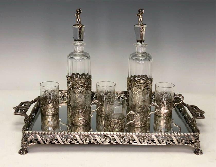 19TH C. GERMAN SILVER & CUT GLASS LIQUOR SET