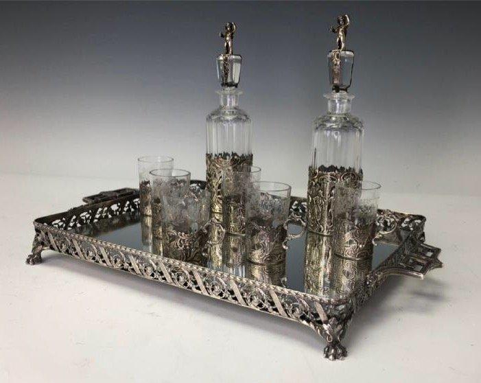 19TH C. GERMAN SILVER & CUT GLASS LIQUOR SET - 2