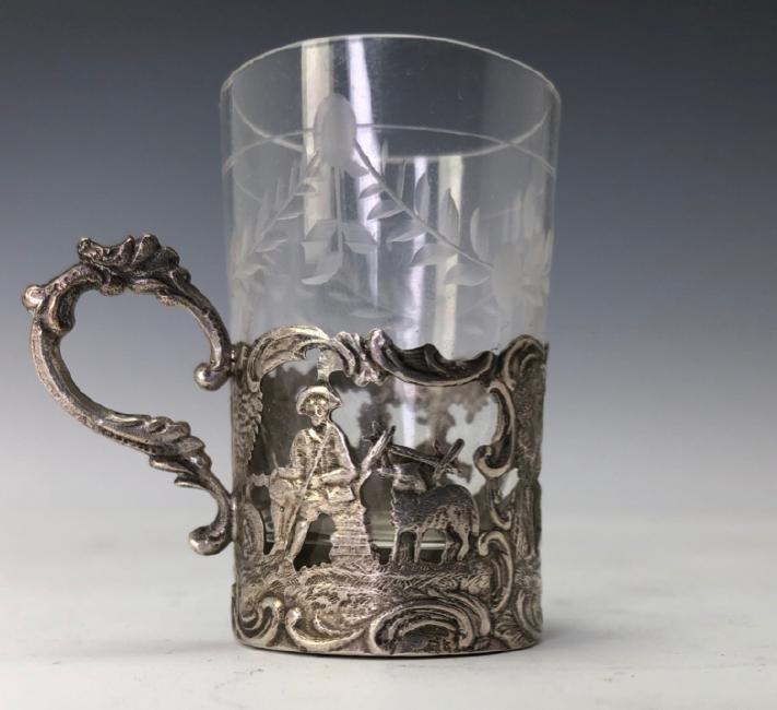 19TH C. GERMAN SILVER & CUT GLASS LIQUOR SET - 3