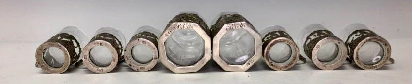 19TH C. GERMAN SILVER & CUT GLASS LIQUOR SET - 4