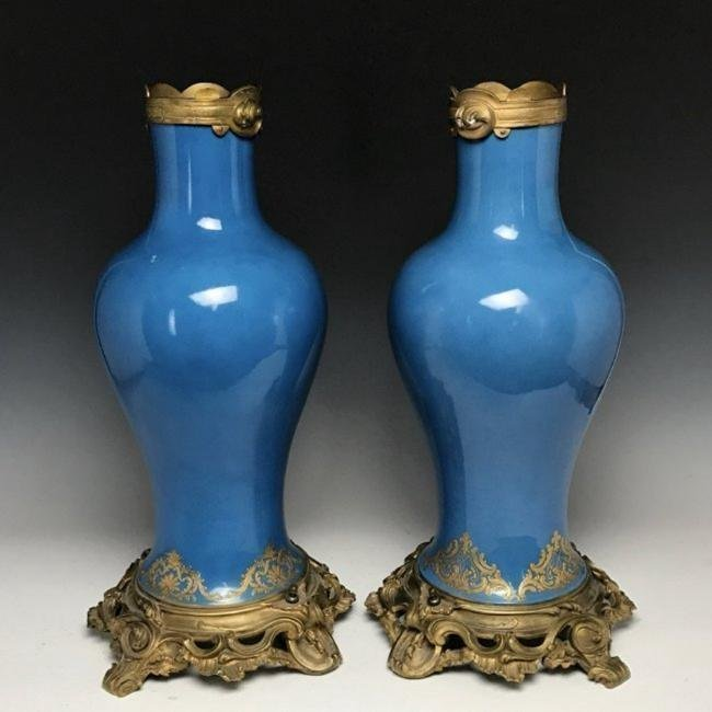 A LARGE PAIR OF 19TH C. ORMOLU MOUNTED SEVRES VASES - 2