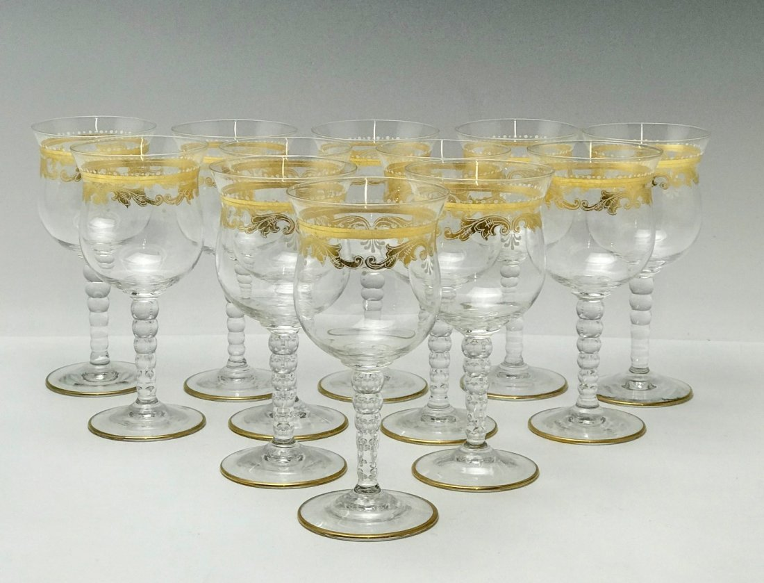SET OF 12 GILT AND ENAMELLED MURANO WINE GLASSES
