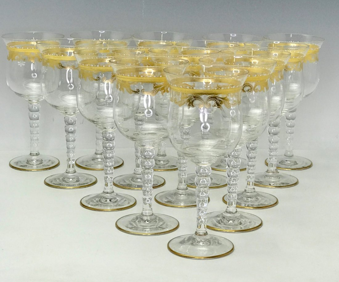 SET OF 15 ENAMELLED AND GILT MURANO WINE GLASSES