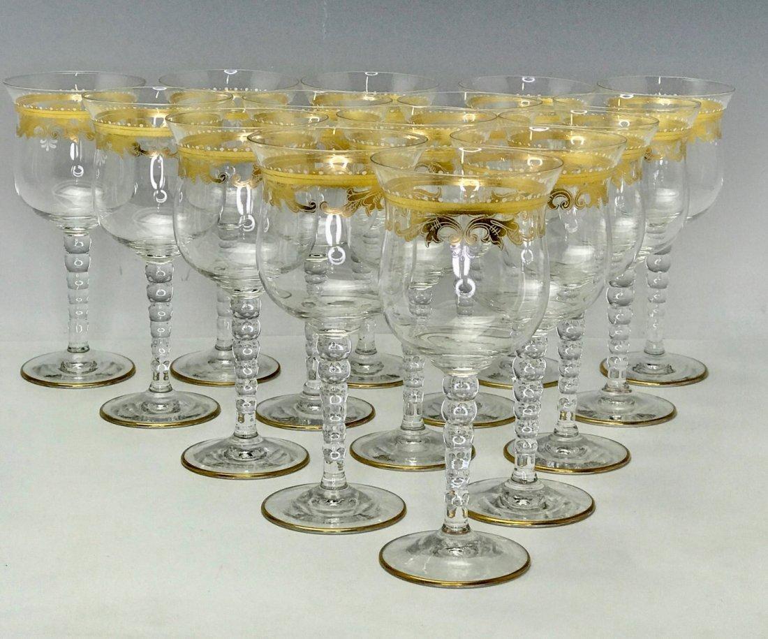 SET OF 13 ENAMELLED AND GILT WINE GLASSES