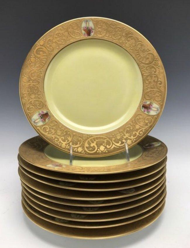 SET OF 10 BAVARIA PORCELAIN DINNER PLATES
