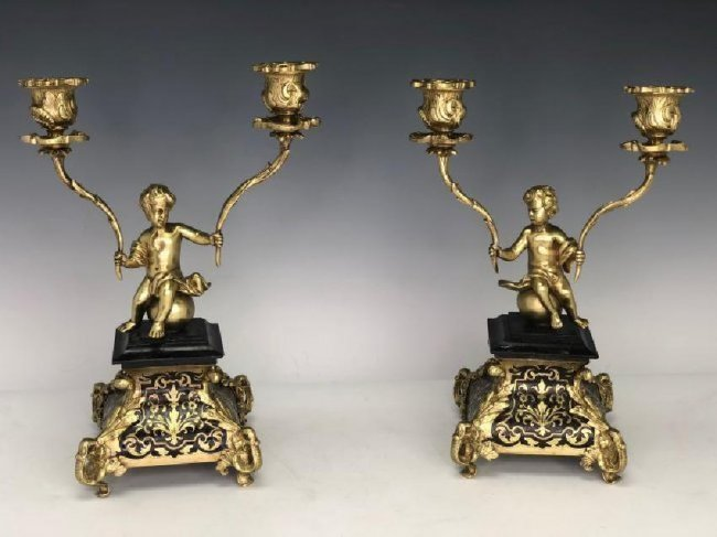 A PAIR OF DORE BRONZE AND BOULLE CANDELABRA