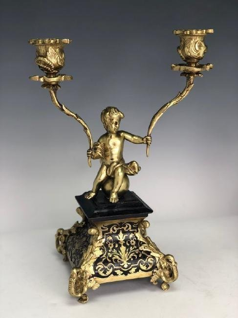 A PAIR OF DORE BRONZE AND BOULLE CANDELABRA - 2