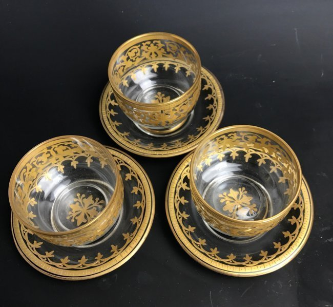 3 MOSER ENAMELLED AND GILT BOWLS & PLATES - 2