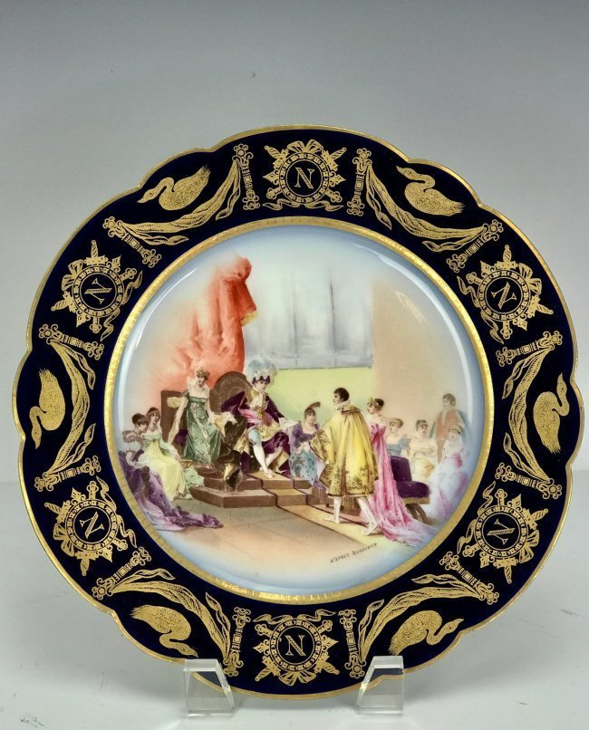 NAPOLEONIC SEVRES STYLE PORCELAIN PLATE