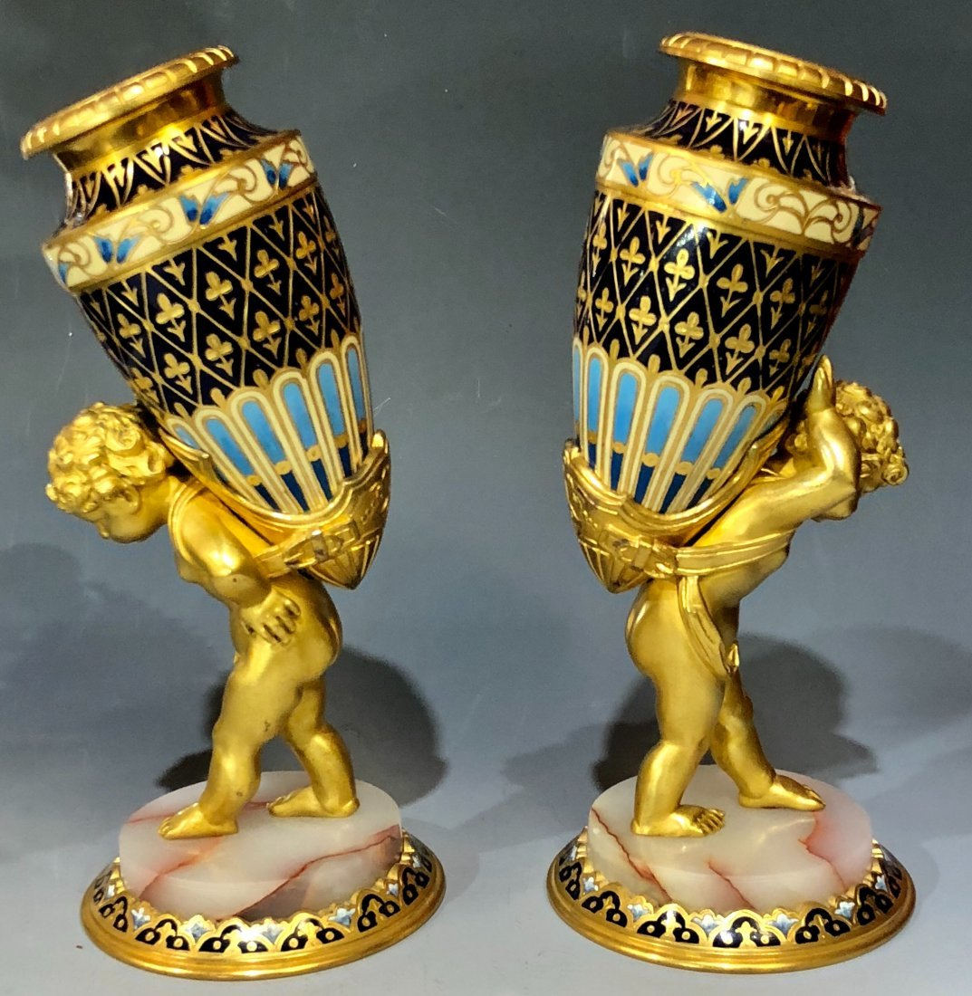 A PAIR OF FRENCH 19TH C. FRENCH CHAMPLEVE ENAMEL VASES
