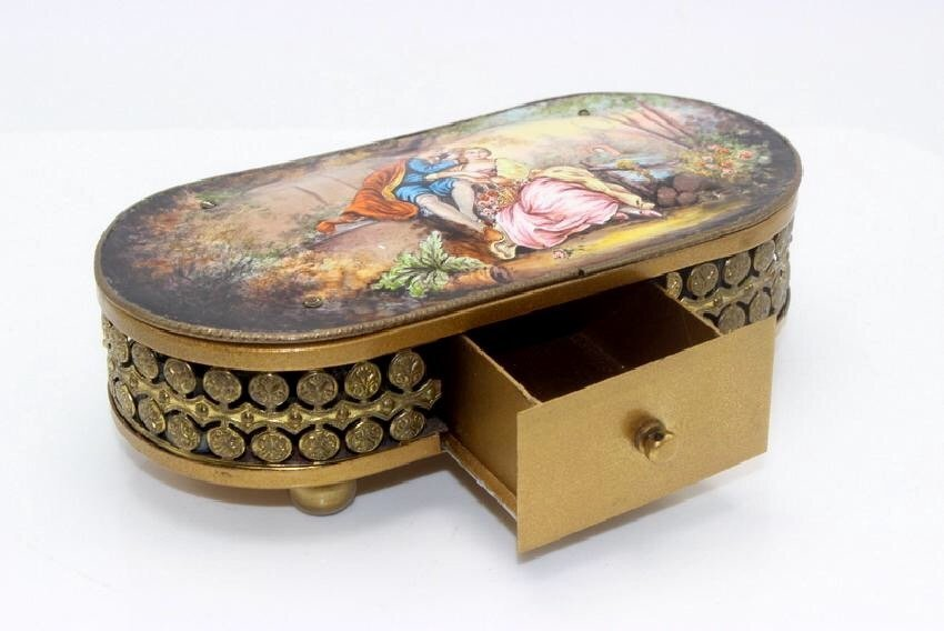 AUSTRIAN ENAMEL MUSIC BOX