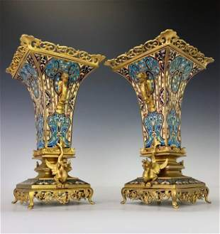 A SUPERB PAIR OF FRENCH CHAMPLEVE ENAMEL VASES