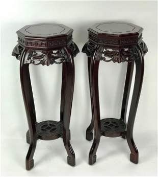 PAIR OF CHINESE CARVED ROSEWOOD STANDS