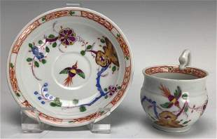 19TH C MEISSEN CUP AND SAUCER