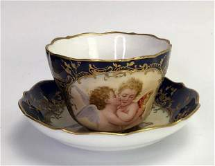 19TH C GERMAN PORCELAIN CUP AND SAUCER