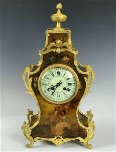 19TH C FRENCH ORMOLU MOUNTED VERNIS MARTIN CLOCK