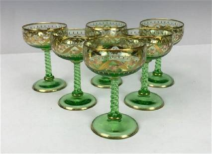SET OF 6 GILT AND ENAMELLED MOSER CORDIALS