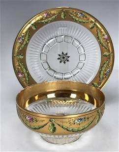 19TH ENAMELLED MOSER FINGER BOWL AND PLATE