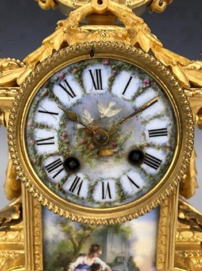 A MAGNIFICENT 19TH C. DORE BRONZE & SEVRES CLOCK SET - 2