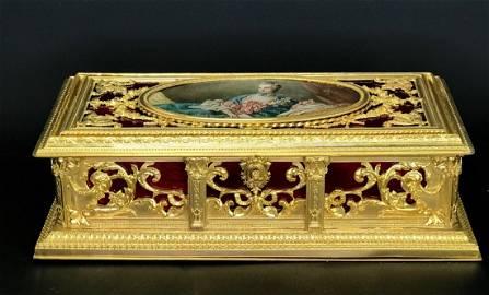 A MAGNIFICENT FRENCH ENAMEL JEWLRY BOX