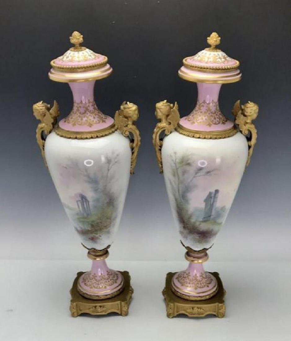 A LARGE PAIR OF ORMOLU MOUNTED SEVRES PORCELAIN VASES - 2
