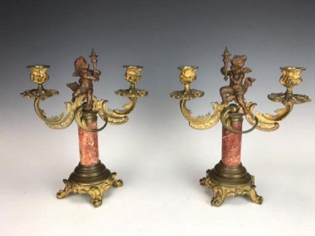 A PAIR OF 19TH C. BRONZE AND MARBLE CANDELABRA
