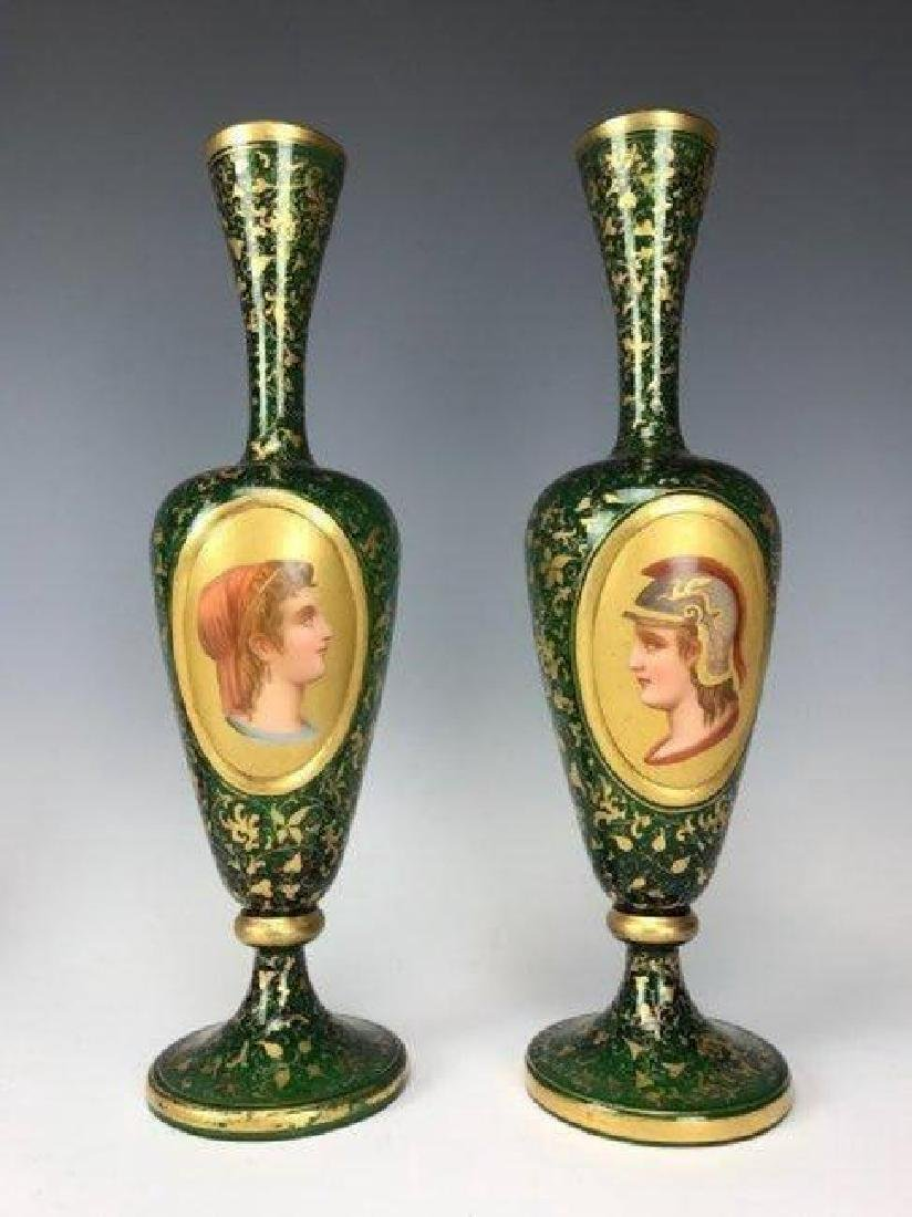 A PAIR OF BOHEMIAN GLASS OVERLAY VASES