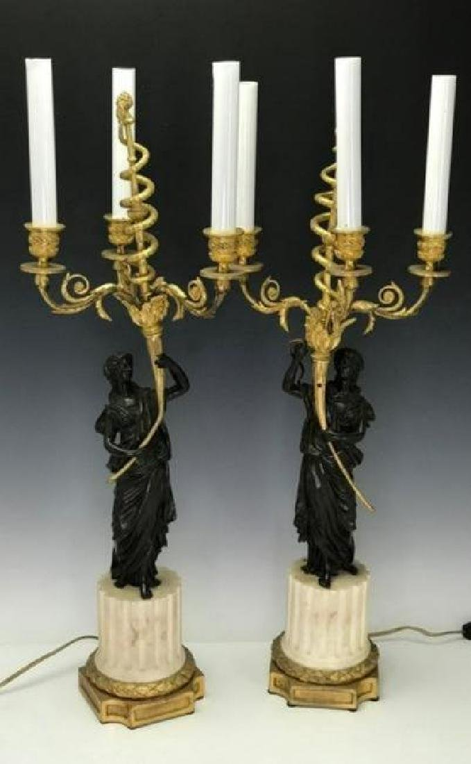 A VERY FINE PAIR OF BRONZE AND MARBLE CANDELABRA