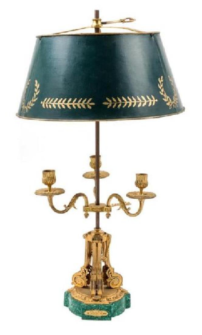 LOUIS XVI STYLE GILT BRONZE & MALACHITE LAMP