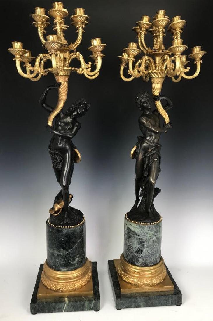"A PAIR OF PALATIAL BRONZE & MARBLE CANDELARA 44"" HIGH"