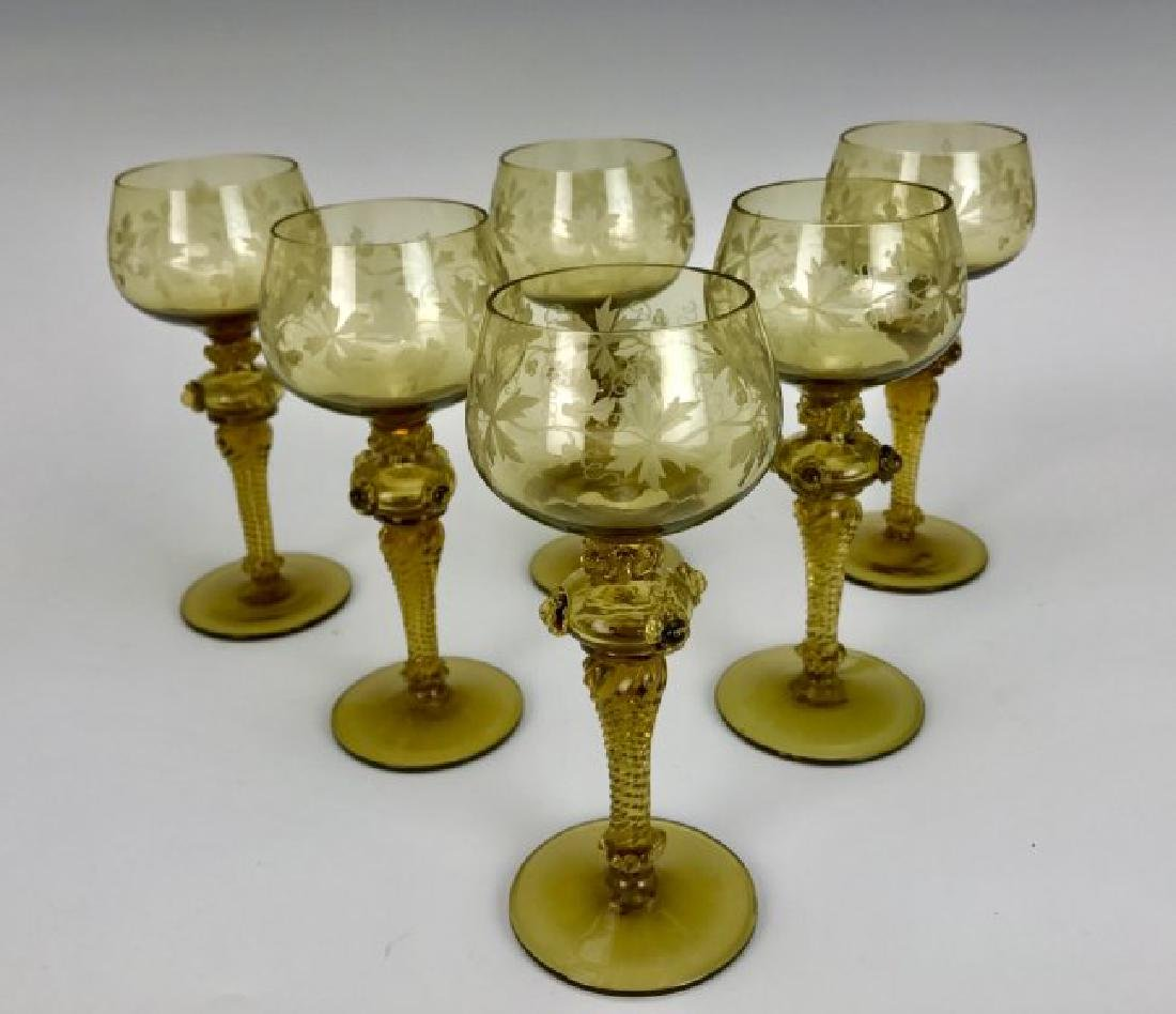 SET OF 6 ETCHED CONTINENTAL GLASS WINE GLASSES