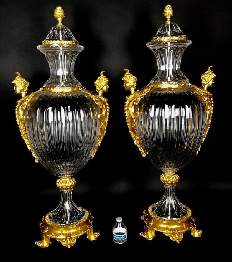 PALATIAL PAIR OF ORMOLU MOUNTED BACCARAT CRYSTAL VASES