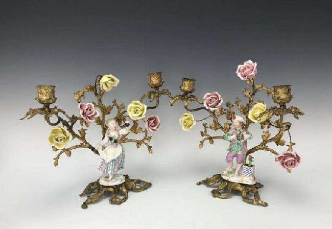 PAIR OF ORMOLU MOUNTED MEISSEN PORCELAIN CANDELABRA