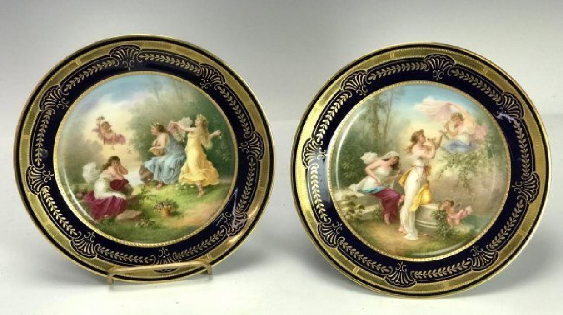 A PAIR OF ROYAL  VIENNA FOOTED CAKE STANDS CIRCA 1900