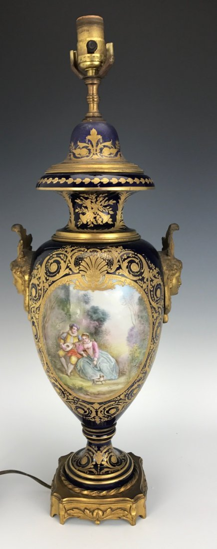 A LARGE 19TH C. SEVRES PORCELAIN LAMP