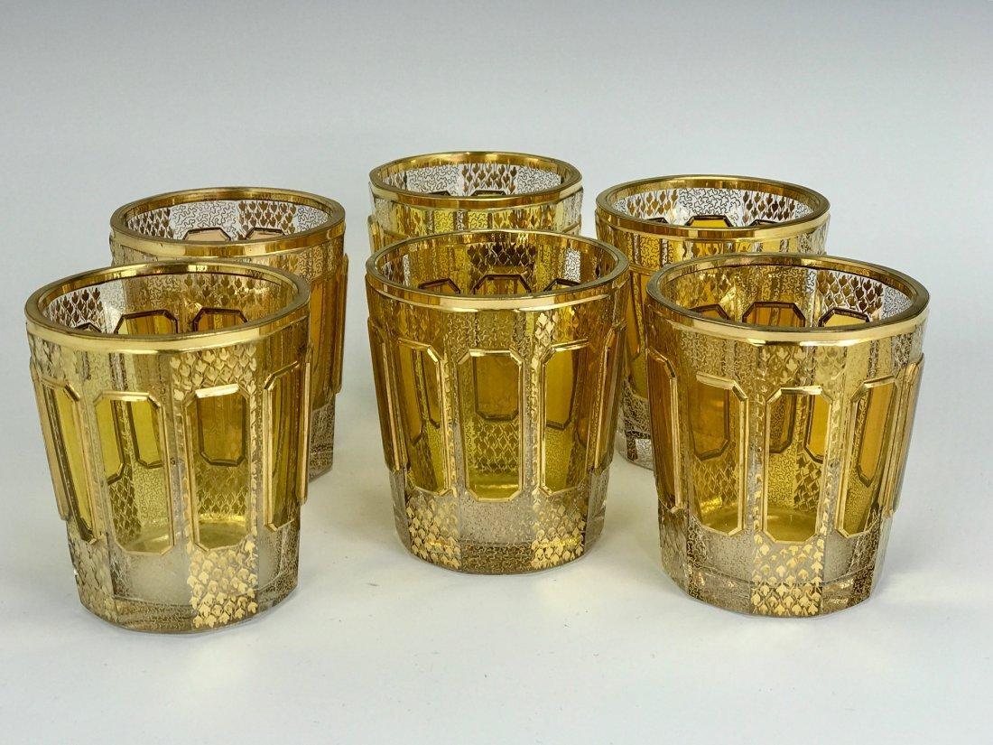 SET OF 6 GILT MOSER GLASSES