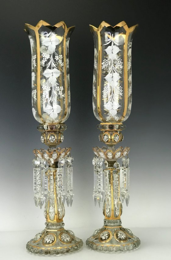 A PAIR OF ENAMELLED BACCARAT HURRICANE LAMPS