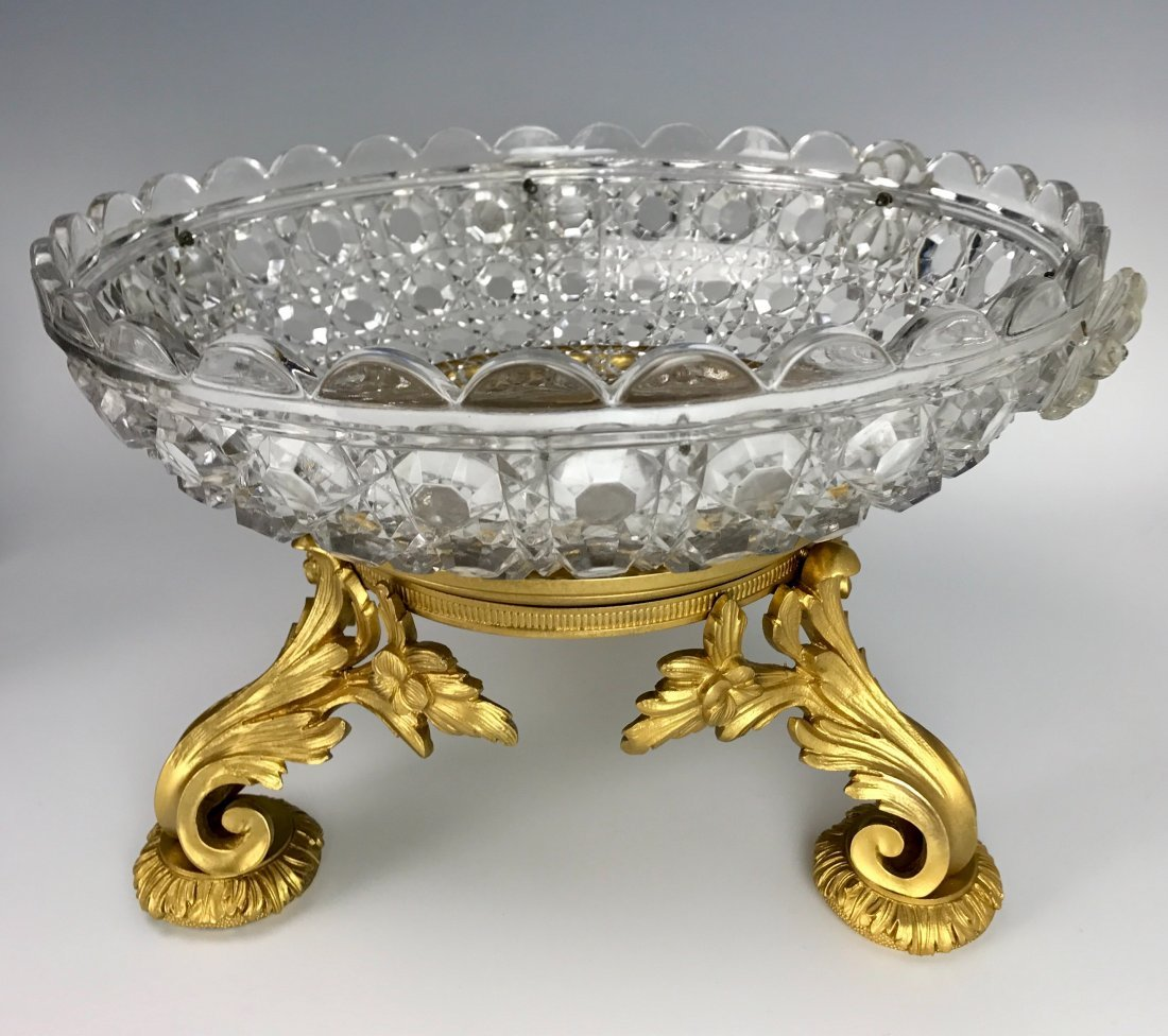 19TH C. DORE BRONZE AND BACCARAT CRYSTAL BOWL