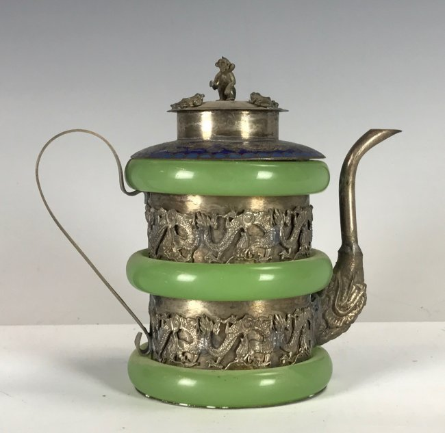 CHINESE CLAD SILVER ENAMEL AND JADE TEAPOT