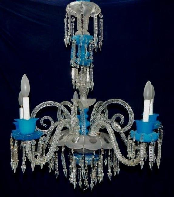 BACCARAT BLUE AND CLEAR CRYSTAL CHANDELIER
